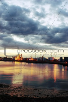 Aberdeen harbour at sunset