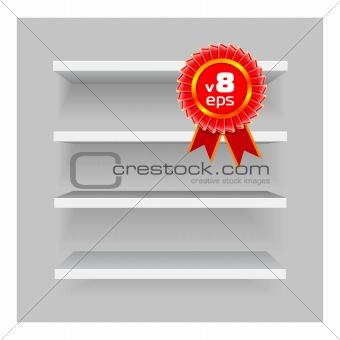 shelves on gray background