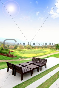 Beautiful outdoor space with a table and chairs