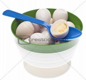 Bowl of Boiled Quail Eggs