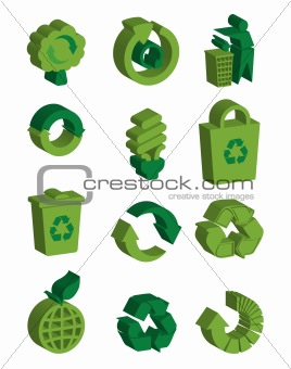 3D recycle signs set