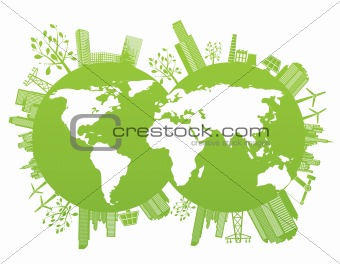 Green and environment planet background
