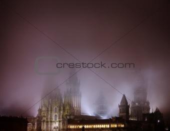 Cathedral in Santiago de Compostella at night
