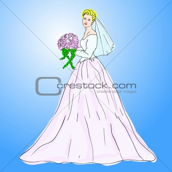 Bride in wedding dress white with bouquet