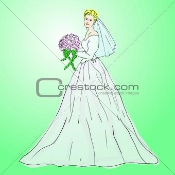 Bride in wedding dress white with bouquet