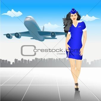 beautiful Stewardess at the airport