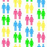 Seamless pattern with silhouettes of the person of different col