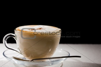 Cappuccino on white table