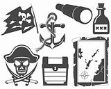 Pirate black and white icon set