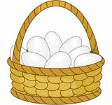 Basket with white eggs