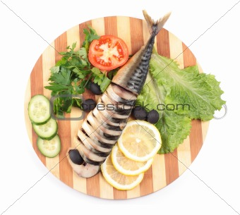 sliced herring on wooden plate