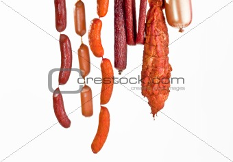 fresh composition with meat isolated on white