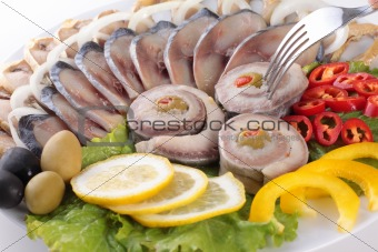fish with vegetables,anion red pepper