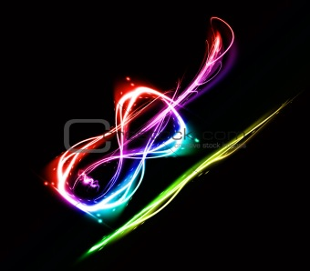 Abstract image of a violin on black background.