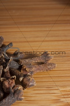 Kitchen board with spices