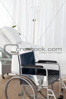 A wheelchair in a room