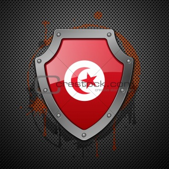 Shield with the image of a flag of Tunisia.