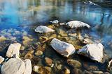 Stones in flowing river