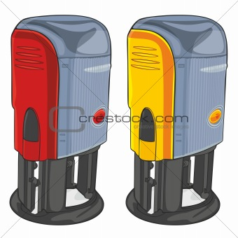 office stampers over white background