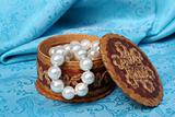 pearls in a jewelry box close up view