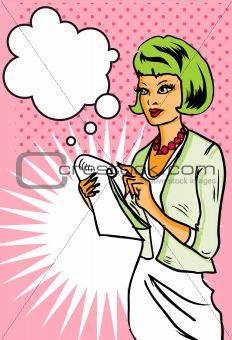Business Woman taking notes pop art