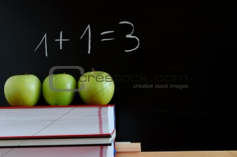 blackboard and apples