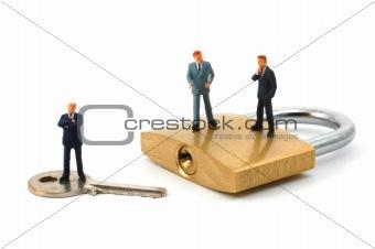 business man on security padlock