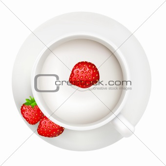 Cup With Milk And Strawberry