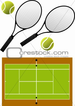 tennis racket and balls, vector