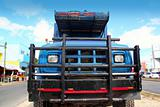aged grunge old truck under  blue sky