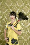 housewife nerd retro woman home chores wallpaper