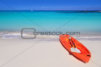 Kayak in beach sand caribbean sea turquoise