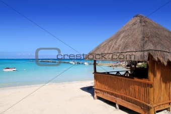 cabin tropical sea  on turquoise caribbean