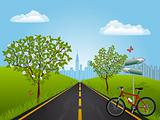 Summer landscape with a bike