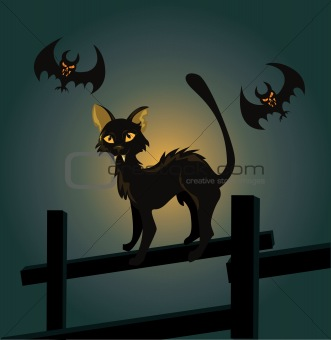 Vector illustration of a black cat on a fence and a vampire bat