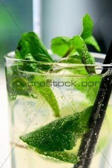 Mojito cocktail closeup with air bubbles
