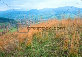 Autumn mountain country landscape (Carpathian, Ukraine).