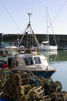 Fishing boat moared at the harbour