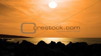 cliff edge view burren sunset