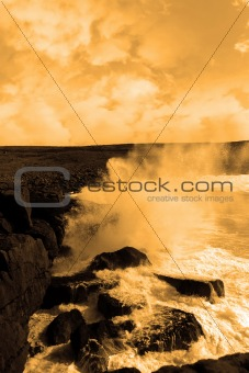 giant storm waves crashing on cliffs
