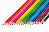 Colored pencils, isolated, on a white background