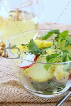potato salad with cucumber and radish dressed