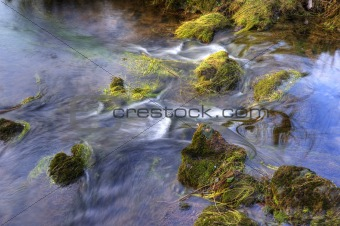 Beautiful close up of babbling brook in mountain forest