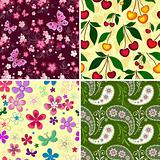 Set seamless spring patterns