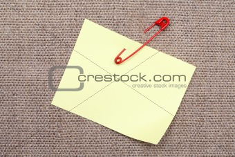 Adhesive Note And Safety Pin
