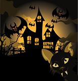 Halloween background with cat