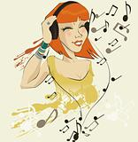 vector image of girl listening to music 