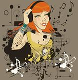 The young girl listens to music in headphone(vector illustration