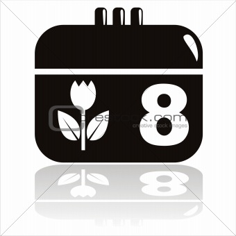 8th of march calendar icon