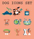 Pet icons set vector doggy